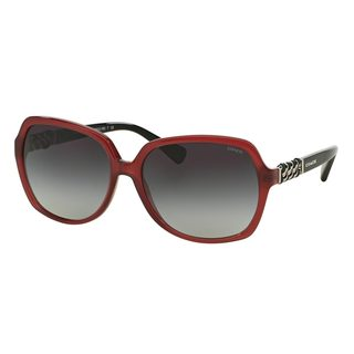 Coach Women's HC8155Q Red Plastic Square Sunglasses