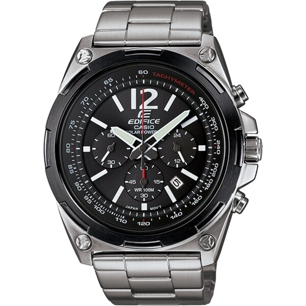 aee7613f8 Shop Casio Men's Edifice Stainless Steel Solar Chronograph Watch - On Sale  - Free Shipping Today - Overstock - 10857786