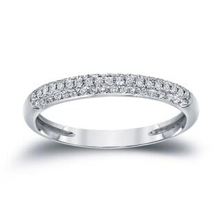 Auriya 14k White Gold 3/4ct TDW Round Diamond Pave Wedding Band (H-I, I1-I2)