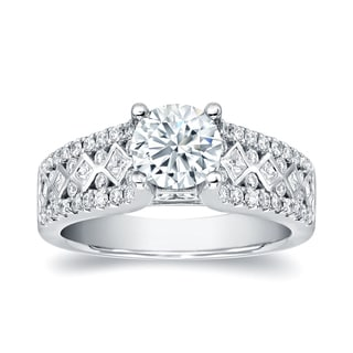 Auriya 14k White Gold 2ct TDW Round Cut Diamond Engagement Ring (H-I, I1-I2)