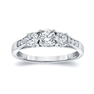 Auriya 14k White Gold 1/2ct TDW 9-Stone Round Cut Diamond Ring (J-K, I1-I2)