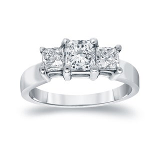 Auriya 14k Gold 1 1/2ct TDW Princess-Cut Diamond 3-Stone Engagement Ring