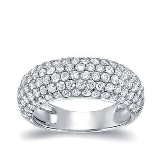Auriya 14k White Gold 2ct TDW Round Cut Diamond Multi-Row Pave Ring (H-I, I2-I3)