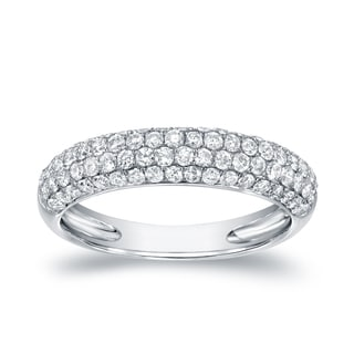 Auriya 14k White Gold 1ct TDW Round Cut Diamond Multi- Row Pave Ring