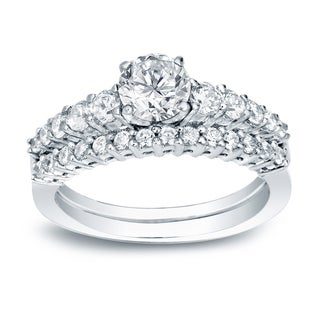 Auriya 14k White Gold 1ct TDW Certified Round Diamond Engagement Ring Bridal Set