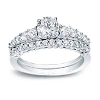 Auriya 14k White Gold 1ct TDW Certified Round Diamond Engagement Ring Set