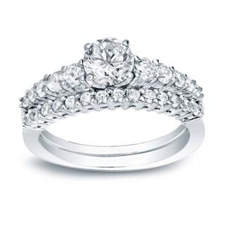 Auriya 14k White Gold 1ct TDW Certified Round Diamond Engagement Ring Bridal Set