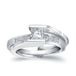 Auriya 14k White Gold 3/4ct TDW Certified Princess-cut Diamond Insert Bridal Ring Set