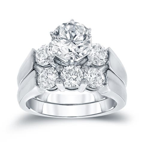 Auriya 14k Gold 3 carat TW Round 3-Stone Diamond Engagement Ring Set