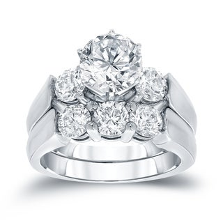 Auriya 14k White Gold 3ct TDW Certified Round-cut Diamond Bridal Ring Set (J-K, I1-I2)