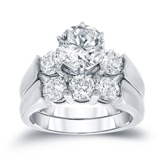 Auriya 14k White Gold 3ct TDW Round Cut Diamond Bridal Ring Set (J-K, I1-I2)