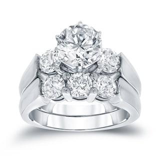 Auriya 14k White Gold 3ct TDW Certified Round-cut Diamond 3-Stone Bridal Ring Set (J-K, I1-I2)