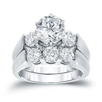 Auriya 14k White Gold 3ct TDW Certified 3-Stone Diamond Engagement Ring Set