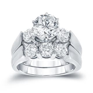 Auriya 3ctw Round 3-Stone Diamond Engagement Ring Set 14k Gold
