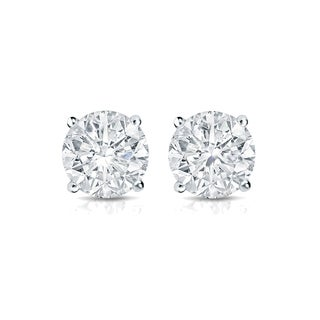 Auriya 14k Gold 1/3ct TDW 4-Prong Push-Back Round Diamond Stud Earrings (H-I,SI2-SI3)