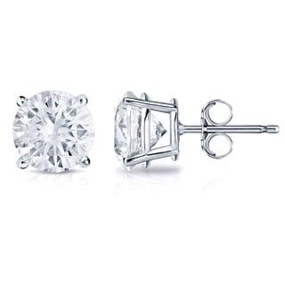 Auriya 14k Gold 1ct TDW 4-Prong Push-Back Round Diamond Stud Earrings (H-I,SI2-SI3)