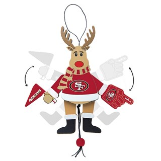 San Francisco 49ers Wooden Cheering Reindeer Ornament