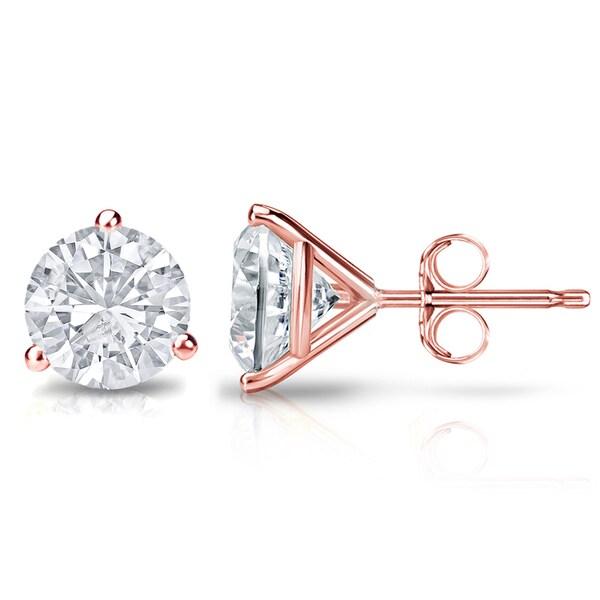 Auriya 14k Gold 3/5ct TDW 3-Prong Push-Back Round Diamond Stud Earrings