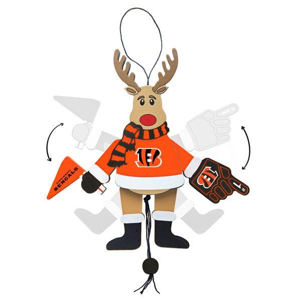 Cincinnati Bengals Wooden Cheering Reindeer Ornament
