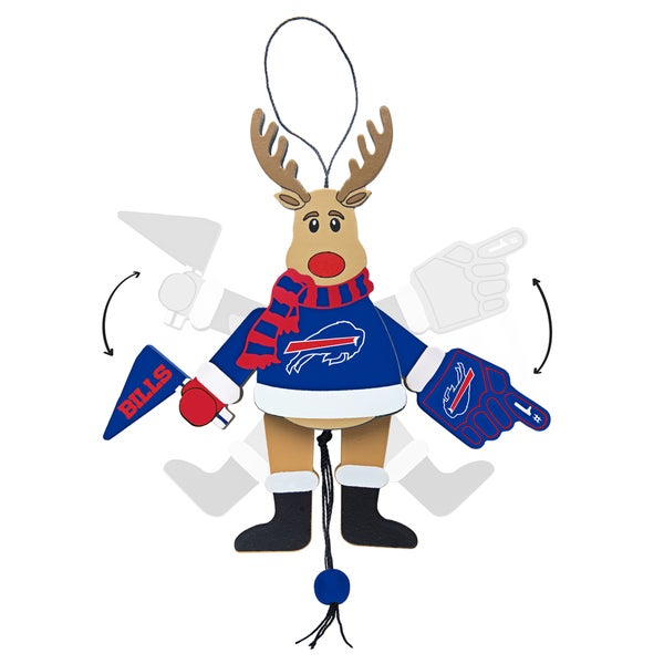 Buffalo Bills Wooden Cheering Reindeer Ornament
