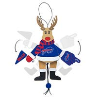 Buffalo Bills Wooden Cheering Reindeer Ornament