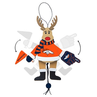 Denver Broncos Wooden Cheering Reindeer Ornament
