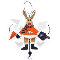 Denver Broncos Wooden Cheering Reindeer Ornament
