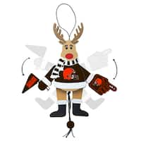 Cleveland Browns Wooden Cheering Reindeer Ornament