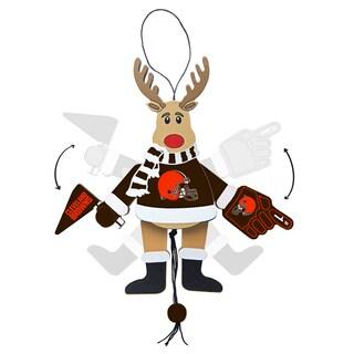 Cleveland Browns Wooden Cheering Reindeer Ornament