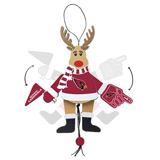 Arizona Cardinals Wooden Cheering Reindeer Ornament