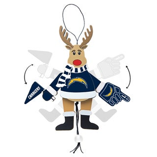 San Diego Chargers Wooden Cheering Reindeer Ornament
