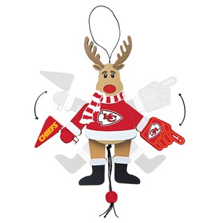 Kansas City Chiefs Wooden Cheering Reindeer Ornament