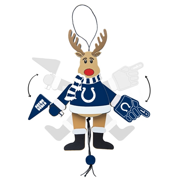 Indianapolis Colts Wooden Cheering Reindeer Ornament