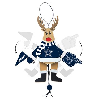 Dallas Cowboys Wooden Cheering Reindeer Ornament