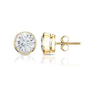 Auriya 14k Gold 1/2ct TDW Bezel Push-Back Round Diamond Stud Earrings (H-I,SI2-SI3)