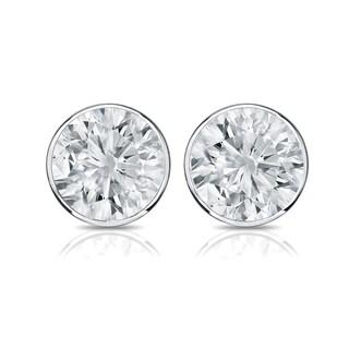 Auriya 14k Gold 3/5ct TDW Bezel Push-Back Round Diamond Stud Earrings (H-I,SI2-SI3)