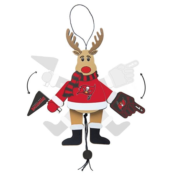 Tampa Bay Buccaneers Wooden Cheering Reindeer Ornament