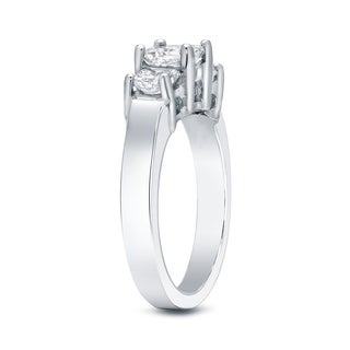 Auriya 14k White Gold 2ct TDW 3-Stone Princess-Cut Diamond Engagement Ring