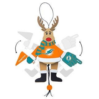 Miami Dolphins Wooden Cheering Reindeer Ornament
