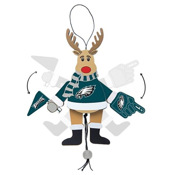 Philadelphia Eagles Wooden Cheering Reindeer Ornament