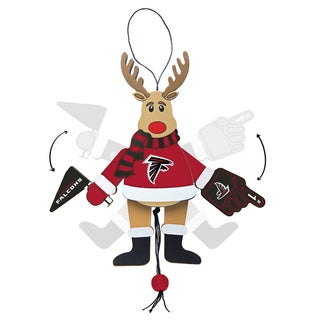 Atlanta Falcons Wooden Cheering Reindeer Ornament