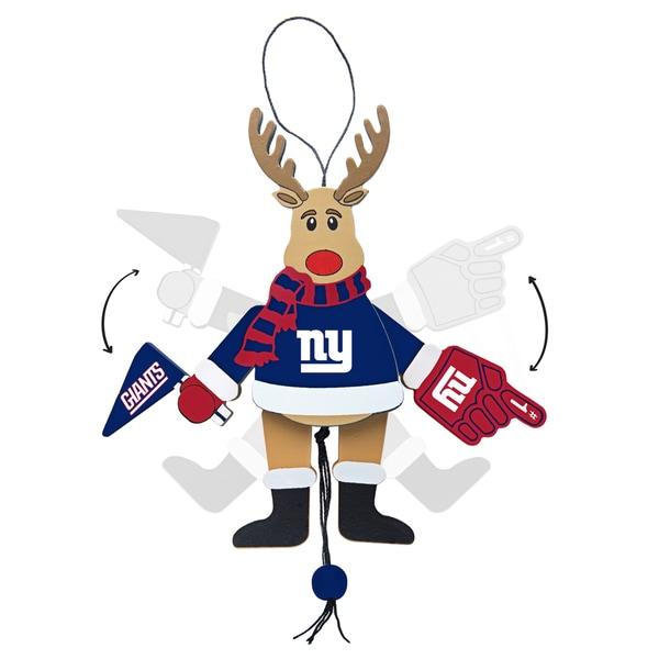 New York Giants Wooden Cheering Reindeer Ornament