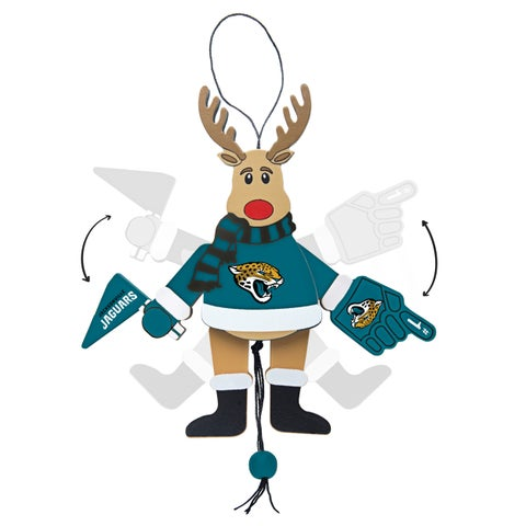 Jacksonville Jaguars Wooden Cheering Reindeer Ornament