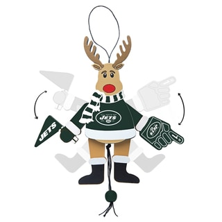 New York Jets Wooden Cheering Reindeer Ornament