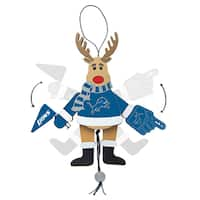 Detroit Lions Wooden Cheering Reindeer Ornament