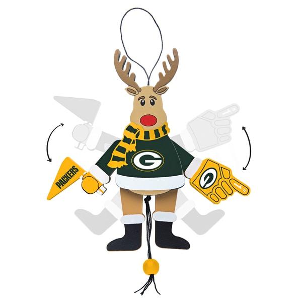 Green Bay Packers Wooden Cheering Reindeer Ornament