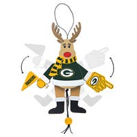 Green Bay Packers Wooden Cheering Reindeer Ornament