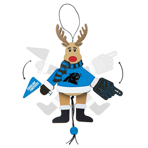 Carolina Panthers Wooden Cheering Reindeer Ornament