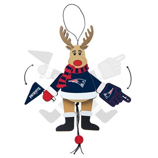 New England Patriots Wooden Cheering Reindeer Ornament