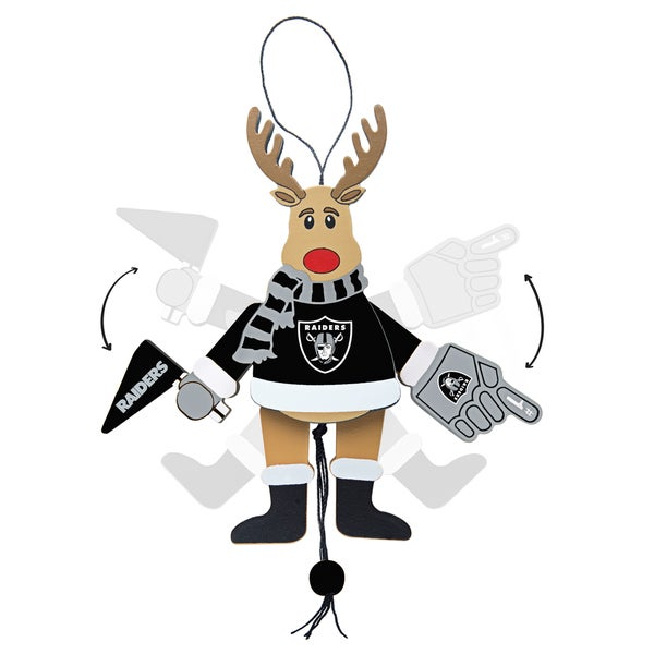 Oakland Raiders Wooden Cheering Reindeer Ornament